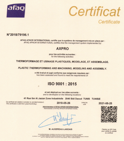 Axpro thermoformage certification ISO 9001